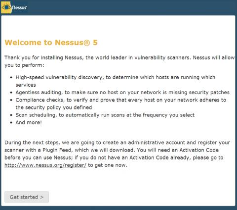 図7 Nessusの初期設定ページ