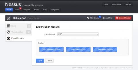 図19 「Export Scan Results」画面