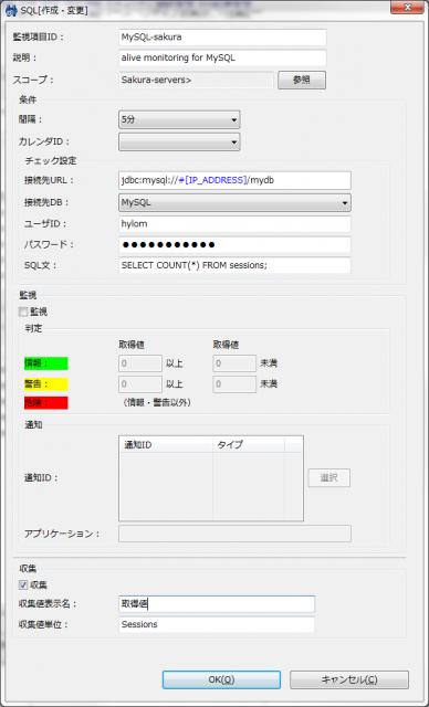 図21 SQL監視(数値)の設定ダイアログ