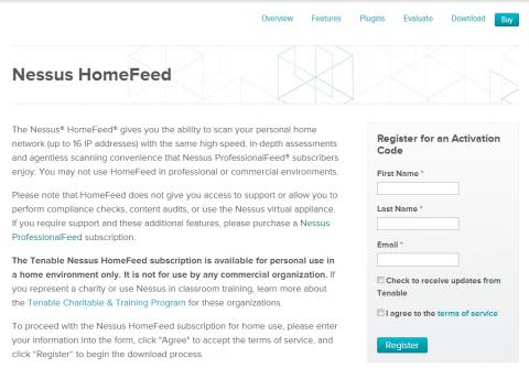 図2 Nessusの個人向け無償ライセンス申込みページ