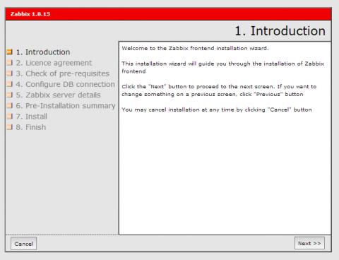 図2 ZabbixのWebフロントエンド初期設定画面