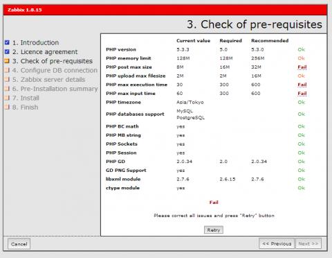 図3 PHPの設定を確認する「Check of pre-requisites」画面