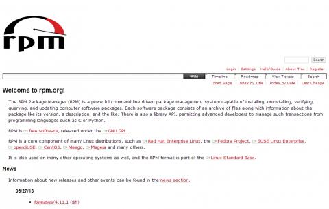 図1 RPMのWebサイト(rpm.org)