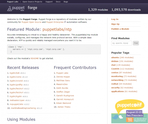 図1 Puppet向けのモジュールを集めて公開している「Puppet Forge」