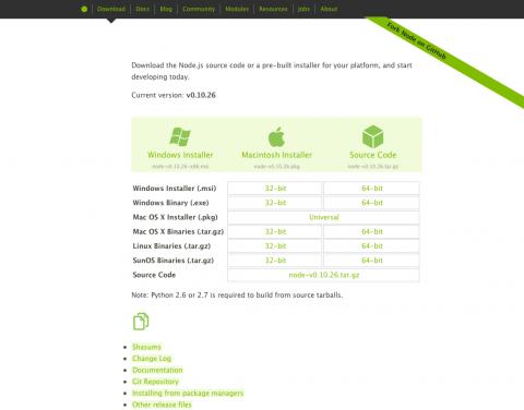 図2 Node.jsのダウンロードページ