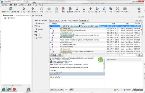 図4 Windows版SourceTreeでは「ブックマーク」画面がメインウィンドウの左側に表示される