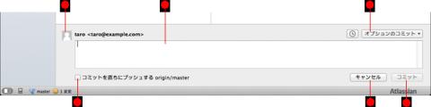 図6 SourceTreeでコミットを行うには、ツールバーの「コミット」をクリックするか、コミットメッセージ欄をクリックしてからコミットメッセージを入力し、「コミット」ボタンをクリックする