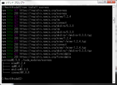 図9 npmコマンドでexpressコマンドをインストールした実行例