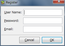 図10 「User Name」、「Password」、「Email」(メールアドレス)を入力し、「OK」ボタンをクリックする