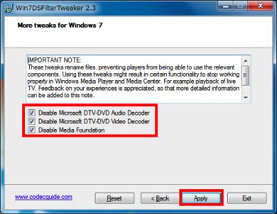 Windows 7付属のコーデックを完全に無効にするには、「Disable Microsoft DTV-DVD Audio Decoder」や「Disable DTV-DVD Video Decoder」にチェックを入れて「Apply」をクリックする