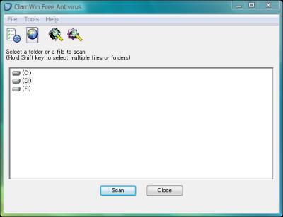 図1 ClamWinはフリーで利用できる非常駐のウイルス対策ソフトだ