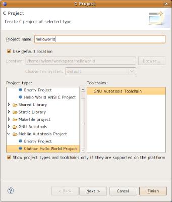 図1 Eclipseの「C Project」作成ウィザード。「Project name」欄にプロジェクト名を入力し、「Project type」では「Moblin Autotools Project」以下にある「Clutter Hello World Project」を選択する