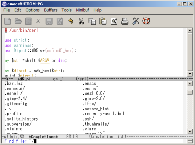 図11 ミニバッファでTabキーを2回押すと、候補となるファイルが一覧表示される