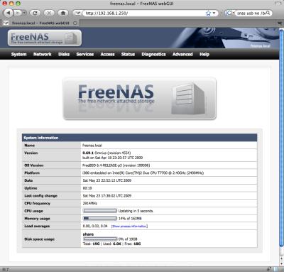 図3 FreeNasのWebインターフェイス「WebGUI」