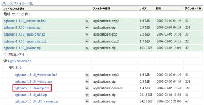 図2 「tightvnc-1.3.10-setup.exe」をクリックしてダウンロードする