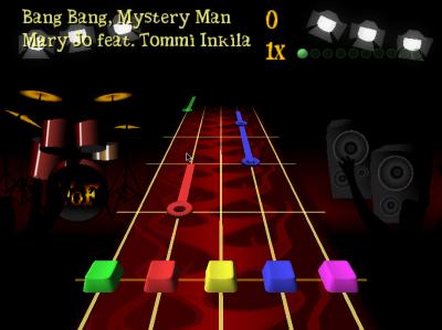 図6 「BeatMania」や「Guitar Freaks」、「Guitar Hero」風のリズムアクションゲーム「FretsOnFire」