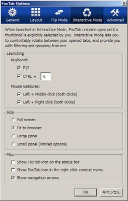 図17 「Interactive Mode」項目ではInteractive Modeを呼び出すショートカットキー/マウスジェスチャや表示サイズを設定できる