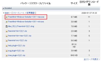 SoucrForge.JPのダウンロードページからFreeMindをダウンロードする。Windows環境なら「FreeMind-Windows-Installer-(バージョン番号).max.exe」が該当のインストーラだ