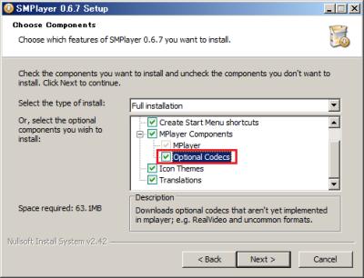 コンポーネントを選択する画面では、「Optional Codes」にチェックを入れておく