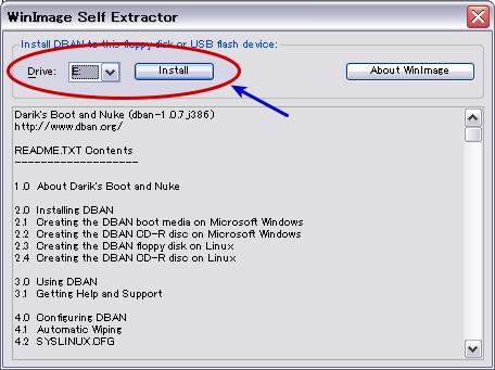 図3 インストール先メディアが入っているドライブを選択し、「Install」をクリックする