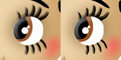 図12 左がデフォルトの写真用設定、右が画像用に調整した設定で拡大した画像だ