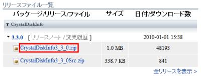 図2 CrystalDiskInfo<バージョン番号>.zipをダウンロードする