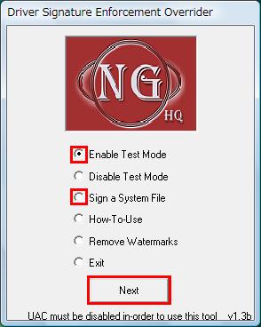図6 「Enable Test Mode」を選択して「Next」をクリック後、「Sign a System File」を選択「Next」をクリック