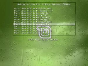 図2 Linux Mint 7の起動画面。「Start Linux Mint in Japanese [ja]」を選択することで日本語環境が利用できる