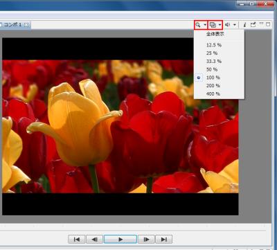 図12 多数のエフェクトをかけているときは再生がかくかくすることがある。このボタンをクリックして解像度やサイズを変更すれば動作が軽くなる