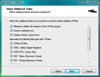 図7 「Select Additional Tasks」画面では関連付けの設定を変更できる