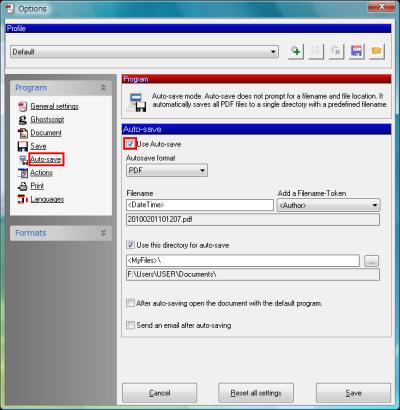 図15 ファイル別の設定が面倒なら「Use Auto-save」にチェックを入れよう