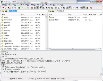 図43 FTPでWindows Azureのインスタンスにアクセスする