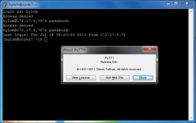 PuTTY 0.61のコンソール画面