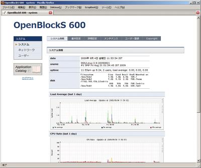 図2 OpenBlockS 600のGUIコントロールパネル