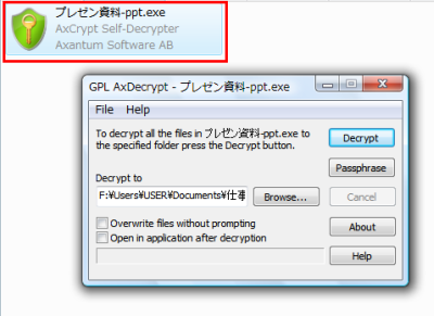 図14 自己暗号解除ファイルは実行するとこのような画面が表示される