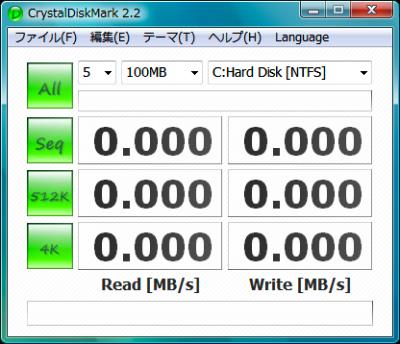 図5 CrystalDiskMarkのメイン画面