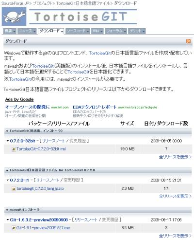 図1 msysgitおよびTortoiseGitのインストーラやTortoiseGitの日本語言語ファイルはSourceForge.JPのダウンロードページから入手できる