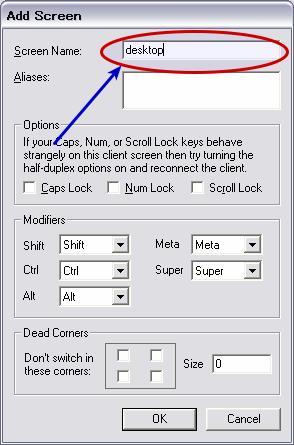 図5 コンピュータを追加するウィンドウ。「Screen Name」以外の設定は不要だ