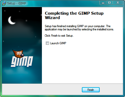 図4 「Lanuch GIMP」のチェックを外し「Finish」をクリックするとGIMPのインストールは完了する。チェックを外し忘れるとGIMPが自動的に起動するので、×ボタンで終了しておこう