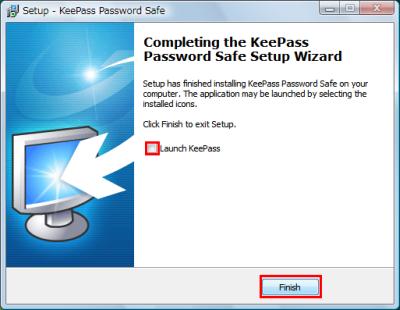 図6 「Launch KeePass」のチェックを外してインストールを終了する