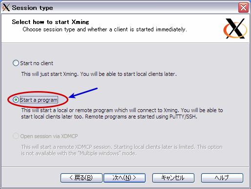 図8 Xmingの起動後にアプリケーションを実行したい場合は「Start a program」を選ぶ