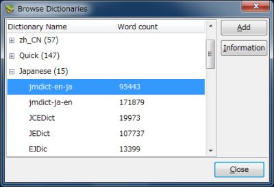 図15 辞書を選択して「Add」ボタンをクリックすることで、利用するネットワーク辞書を登録できる