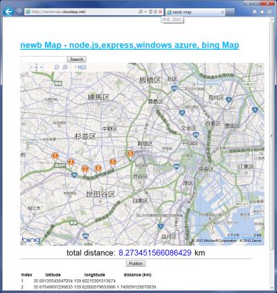図14 地図上に配置したピン間の距離や合計距離を表示するWebアプリケーション「newb map」