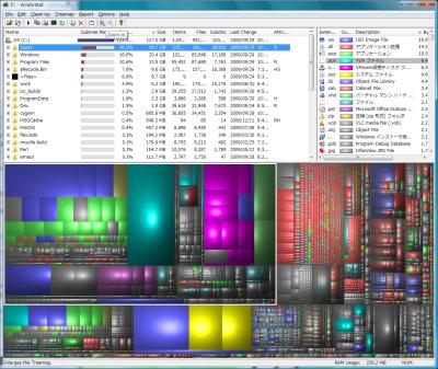 図1 ハードディスクの使用状況をリストおよび図で分かりやすく表示する「WinDirStat」