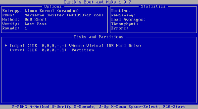 図7 削除したいディスクに「wipe」を付ける