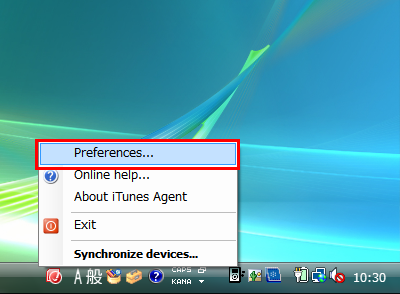 図9 通知領域のアイコンを右クリックし「Preferences」を選ぶ