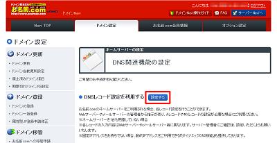 図4 DNSレコード設定を利用するを選択