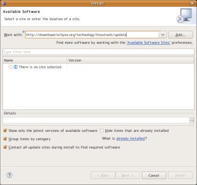 図7 「Work with」欄に「http://download.eclipse.org/technology/linuxtools/update」と入力して「Add」をクリックする