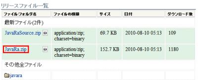 図2 「JavaRa.zip」をクリックしてJavaRaをダウンロードする