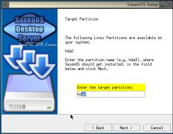 SaxenOS installer, created with InstallJammer